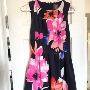Vince Camuto Floral Navy Blue Dress